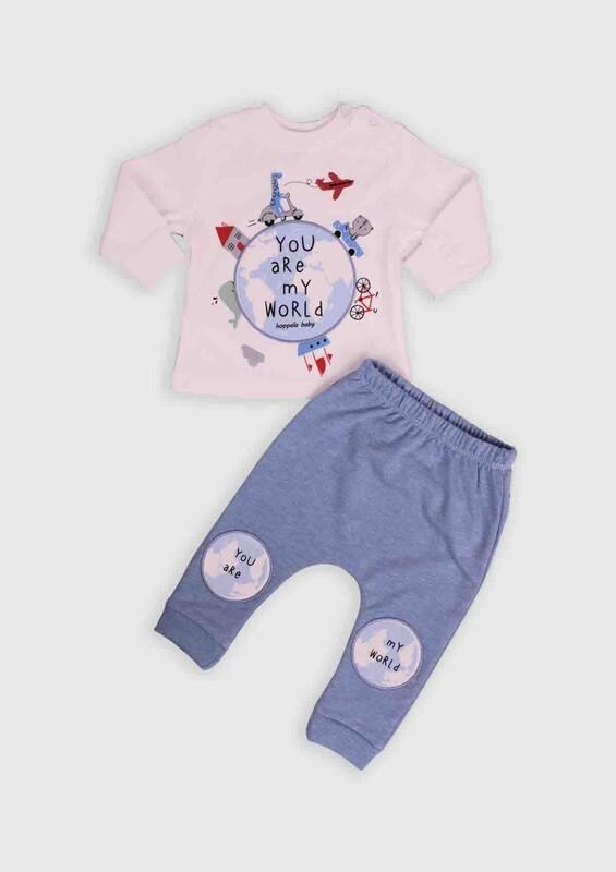 HOPPALA BABY - Hoppala Baby Dünya Baskılı 2'li Bebek Takım | Mavi