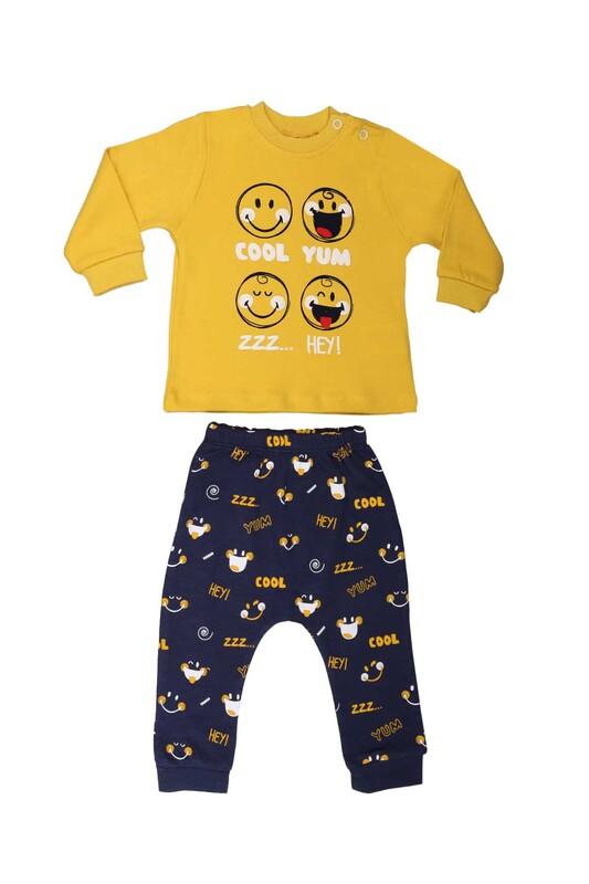 HOPPALA BABY - Hoppala Gülücük Desenli Bebek Takımı 2103 | Sarı