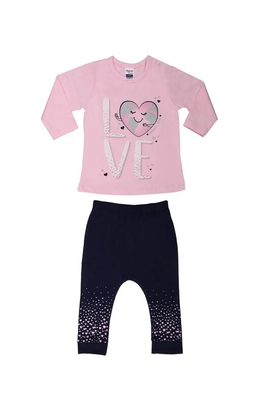 HOPPALA BABY - Hoppala Kalp Baskılı Bebek Takımı 2294 | Pembe