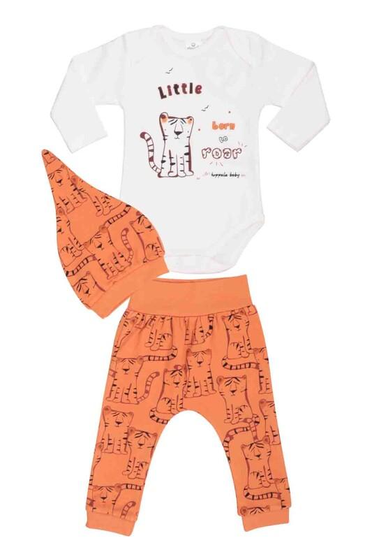 HOPPALA BABY - Hoppala Baby Kedi Desenli Şapkalı Badili Takım 2500 | Turuncu