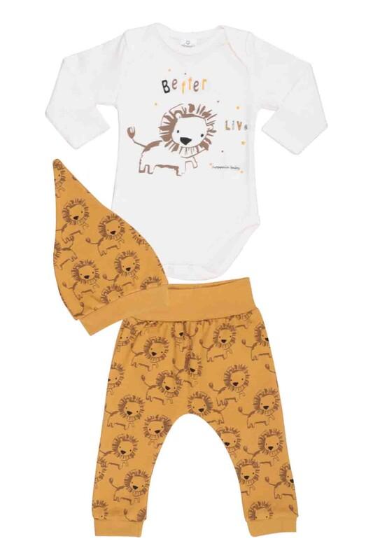 HOPPALA BABY - Hoppala Baby Aslan Desenli Şapkalı Badili Takım 2503 | Hardal