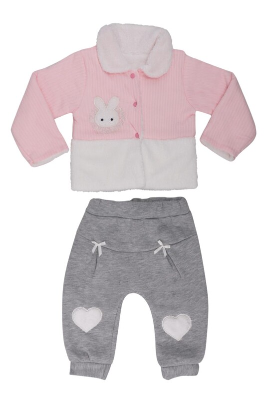 MİLLİON - Tavşan Nakışlı Bebek Takım 2202 | Pembe