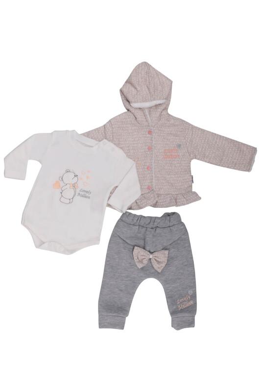 MİLLİON - Benekli 3'lü Bebek Takım 2205 | Bej