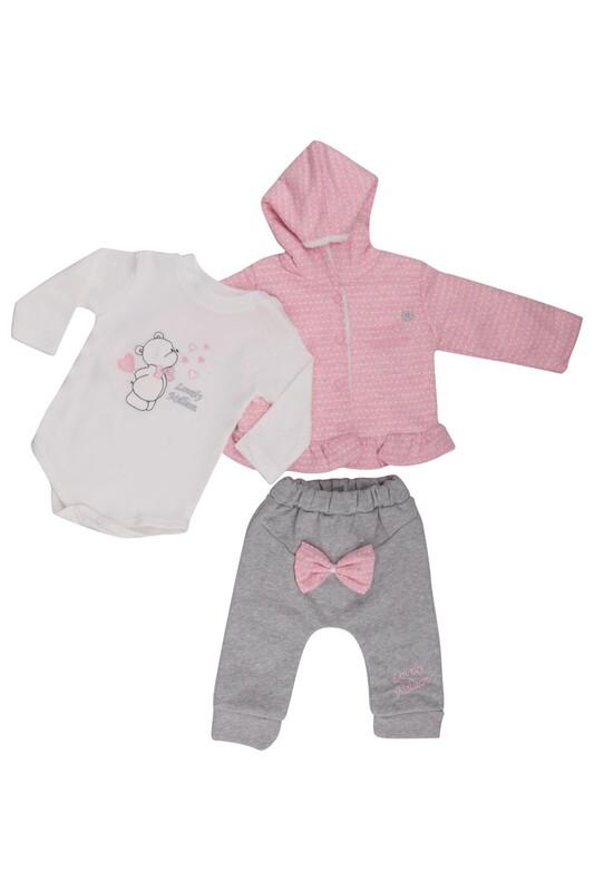 MİLLİON - Benekli 3'lü Bebek Takım 2205 | Pembe