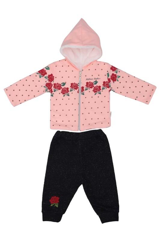 MİLLİON - Gül Desenli 2'li Bebek Takımı 2208 | Kırmızı