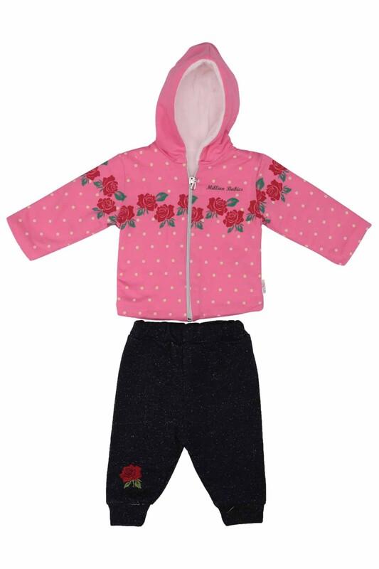 MİLLİON - Gül Desenli 2'li Bebek Takımı 2208   Fuşya