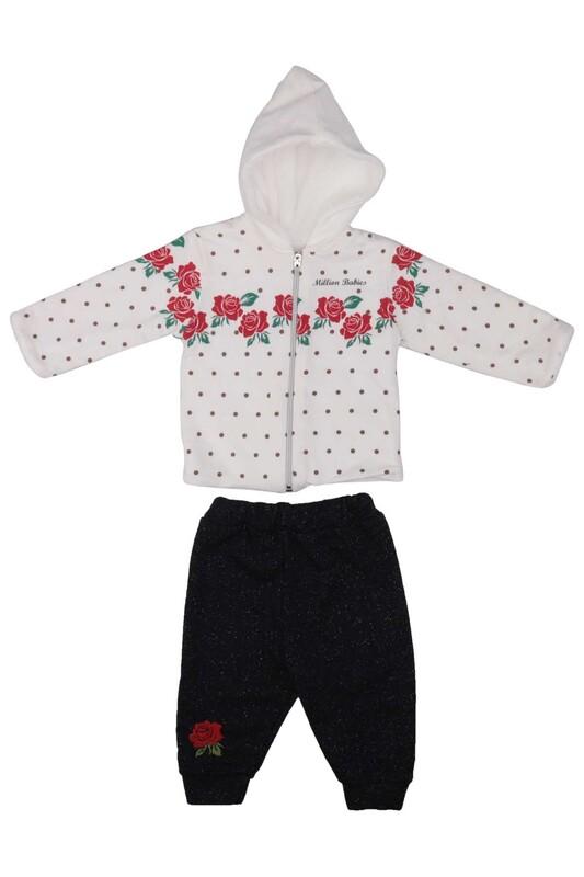 MİLLİON - Gül Desenli 2'li Bebek Takımı 2208   Beyaz