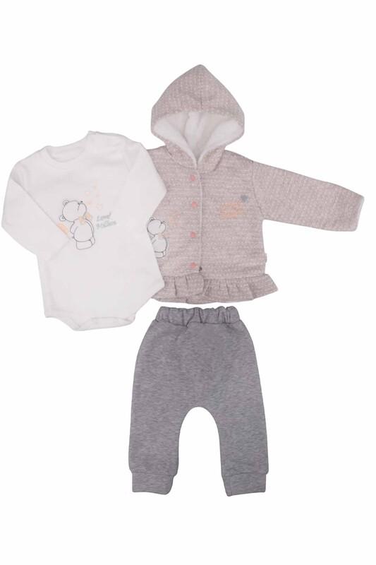 MİLLİON - Ayıcık Nakışlı 3'lü Bebek Takımı 2204 | Bej
