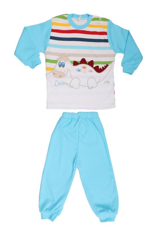 Nafitto - Çizgili Dinazor Desenli Bebek Takımı 1198 | Mavi