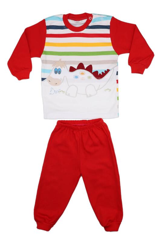 Nafitto - Çizgili Dinazor Desenli Bebek Takımı 1198 | Kırmızı