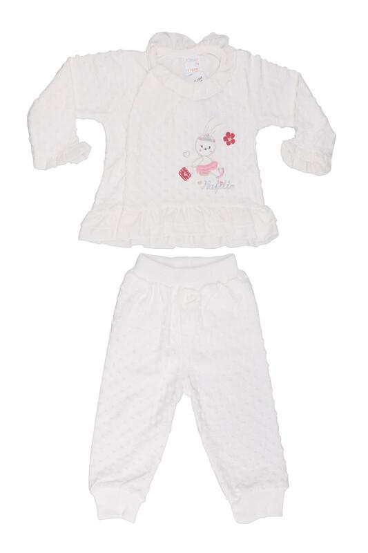Nafitto - Fırfırlı Tavşan Desenli Bebek Takımı 1165 | Beyaz