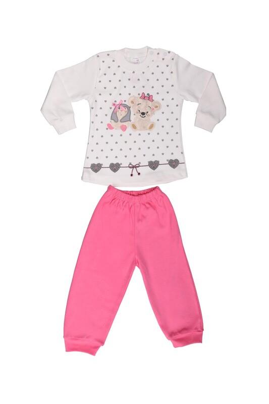 Nafitto - Kalp Baskılı Ayıcık Desenli Bebek Takımı 1161 | Pembe