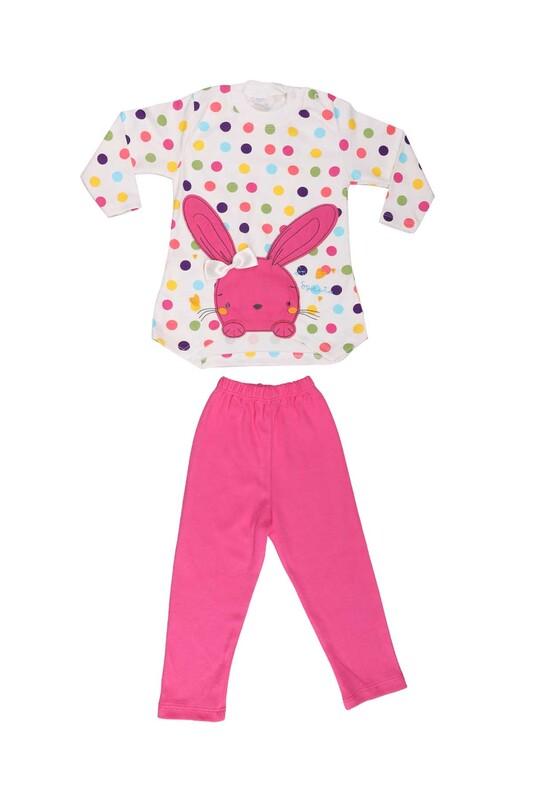 Nafitto - Puantiyeli Tavşan Desenli Bebek Takımı 1195 | Fuşya