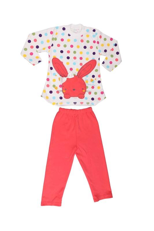 Nafitto - Puantiyeli Tavşan Desenli Bebek Takımı 1195 | Nar Çiçeği
