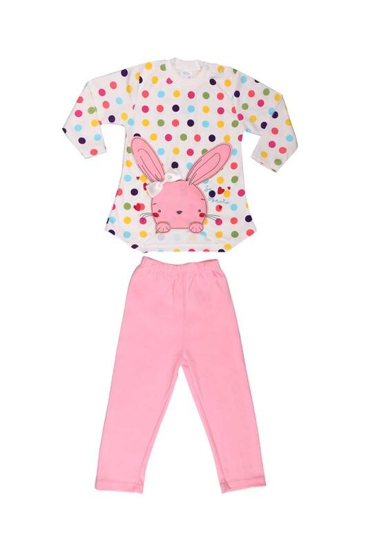 Nafitto - Puantiyeli Tavşan Desenli Bebek Takımı 1195 | Pembe