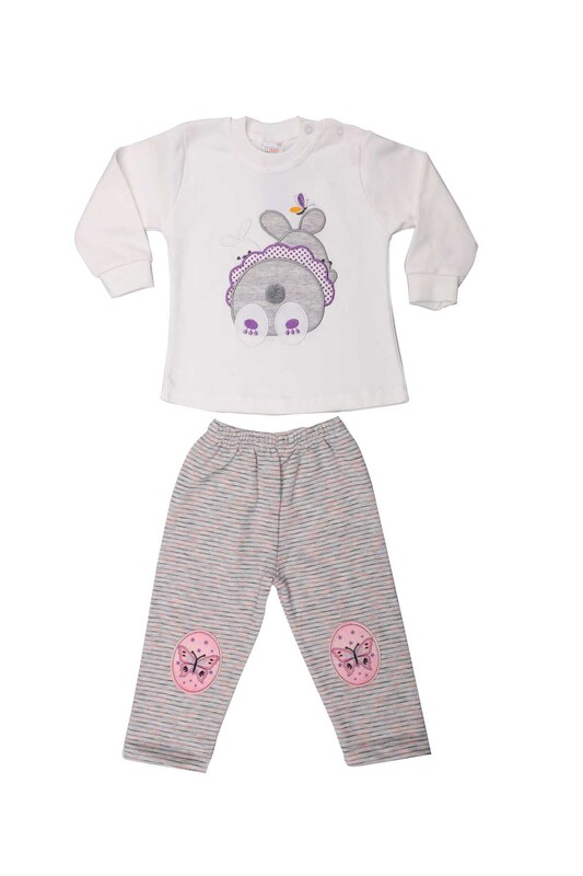 Nafitto - Tavşan Desenli Bebek Takımı 1285 | Beyaz