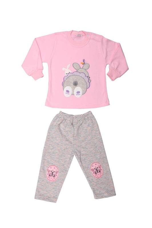 Nafitto - Tavşan Desenli Bebek Takımı 1285 | Pembe