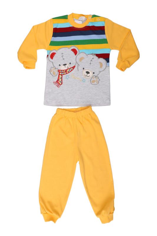 Nafitto - Çizgili Ayıcık Desenli Bebek Takımı 1196 | Sarı