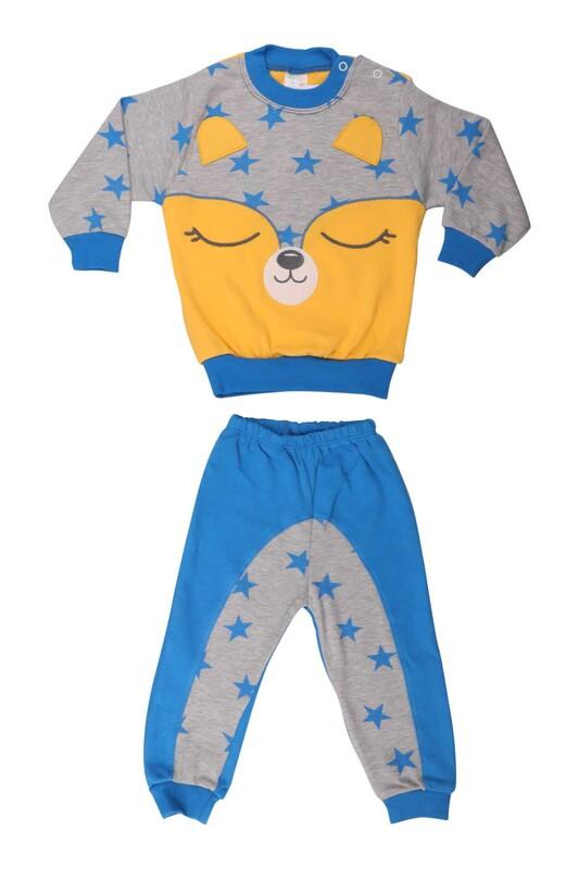 Nafitto - Yıldızlı Rakun Desenli Bebek Takımı 1234 | Mavi
