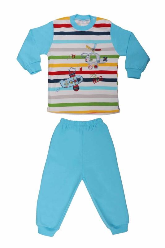Nafitto - Çizgili Helikopter Desenli Bebek Takımı 1199 | Mavi
