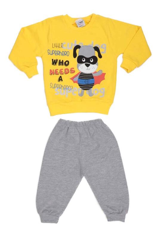 NNK - Köpek Baskılı 2 li Bebek Takımı | Sarı