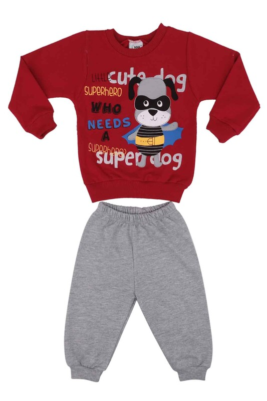NNK - Köpek Baskılı 2 li Bebek Takımı | Kırmızı