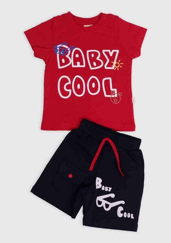 SİMİSSO - Cool Baskılı 2'li Erkek Bebek Takım | Kırmızı