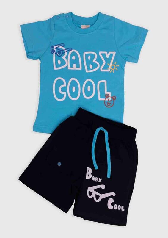 SİMİSSO - Cool Baskılı 2'li Erkek Bebek Takım | Mavi