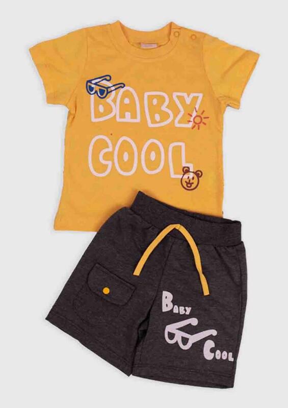 SİMİSSO - Cool Baskılı 2'li Erkek Bebek Takım | Sarı