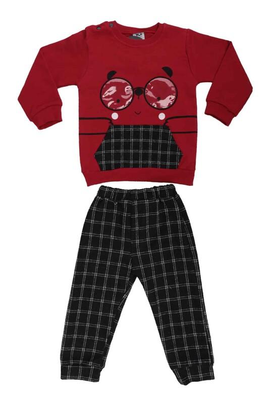 SİMİSSO - Gözlük Baskılı Bebek Takım 53175 | Kırmızı