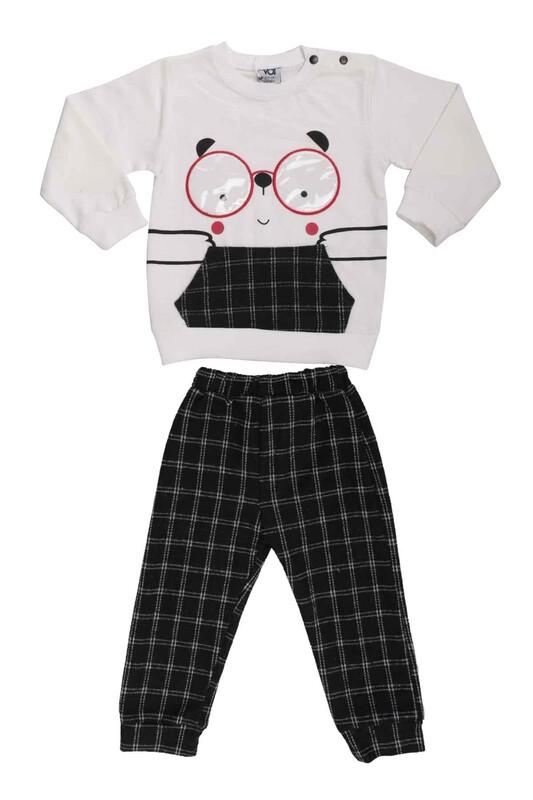 SİMİSSO - Gözlük Baskılı Bebek Takım 53175 | Krem