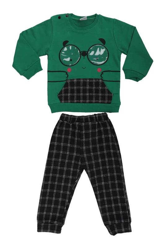 SİMİSSO - Gözlük Baskılı Bebek Takım 53175 | Yeşil