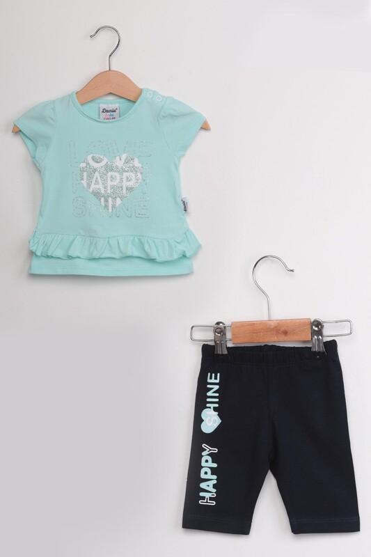 SİMİSSO - Happy Baskılı 2'li Kız Bebek Takım | Su Yeşili