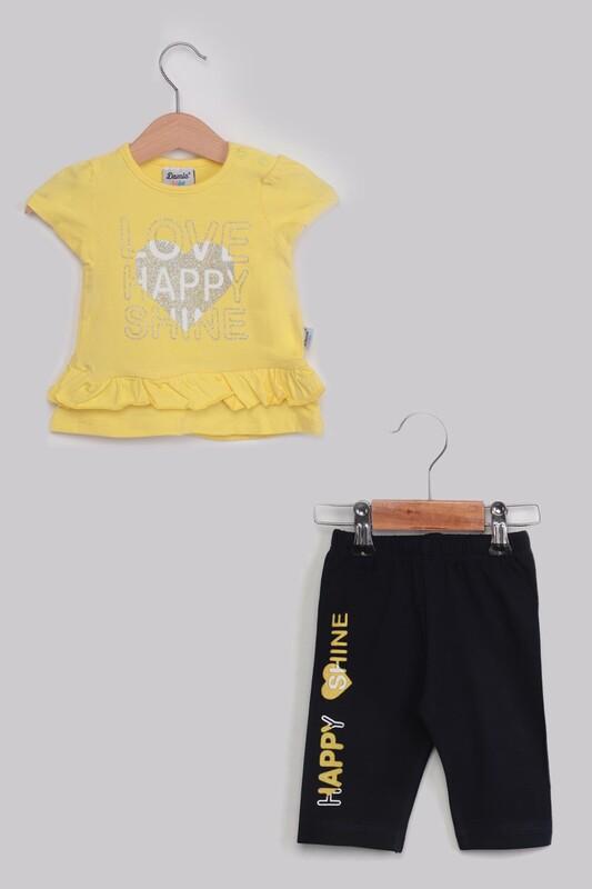 SİMİSSO - Happy Baskılı 2'li Kız Bebek Takım | Sarı