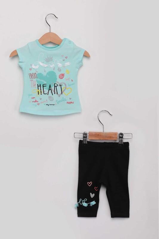 Luminoso - Heart Kız Bebek Taytlı Takım | Su Yeşili