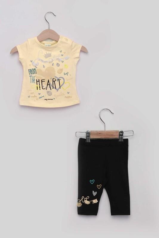 Luminoso - Heart Kız Bebek Taytlı Takım | Sarı