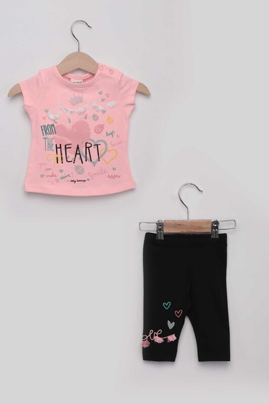 Luminoso - Heart Kız Bebek Taytlı Takım | Pudra