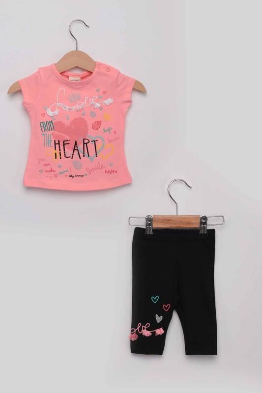 Luminoso - Heart Kız Bebek Taytlı Takım | Pembe
