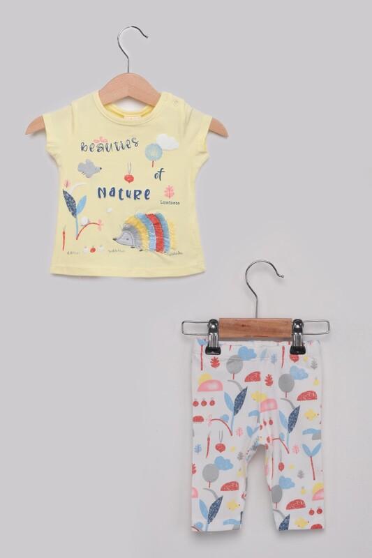Luminoso - Kirpi Kız Bebek Taytlı Takım | Sarı
