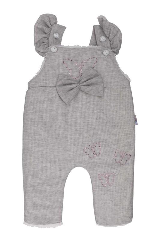 MİLLİON - Kelebek Süslemeli Bebek Tulum 2221 | Gri