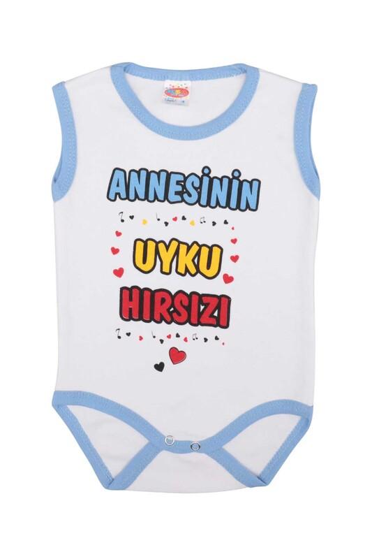 MİNİSOFT - Yazı Baskılı Bebek Zıbın   Mavi
