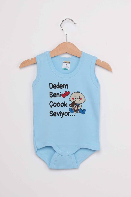 SİMİSSO - Dedem Beni Çok Seviyor Bebek Zıbın   Mavi