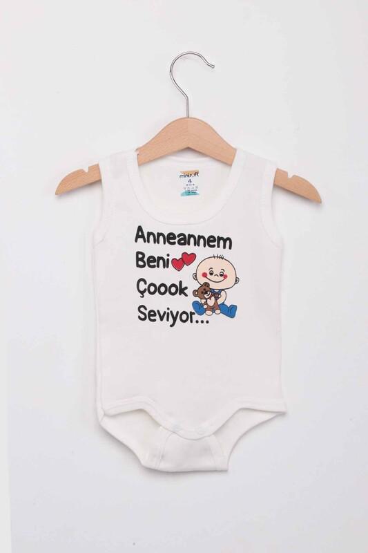 SİMİSSO - Anneannem Beni Çok Seviyor Bebek Zıbın   Ekru