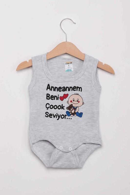 SİMİSSO - Anneannem Beni Çok Seviyor Bebek Zıbın   Gri