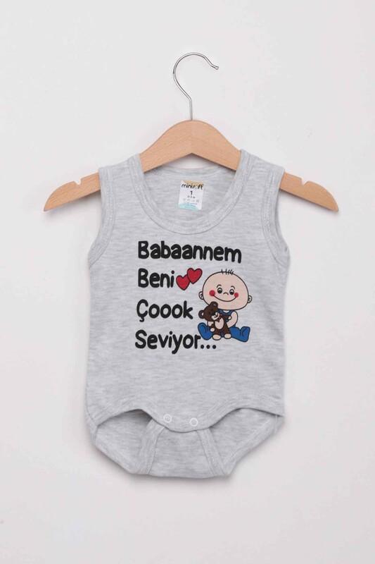 SİMİSSO - Babaannem Beni Çok Seviyor Bebek Zıbın   Gri