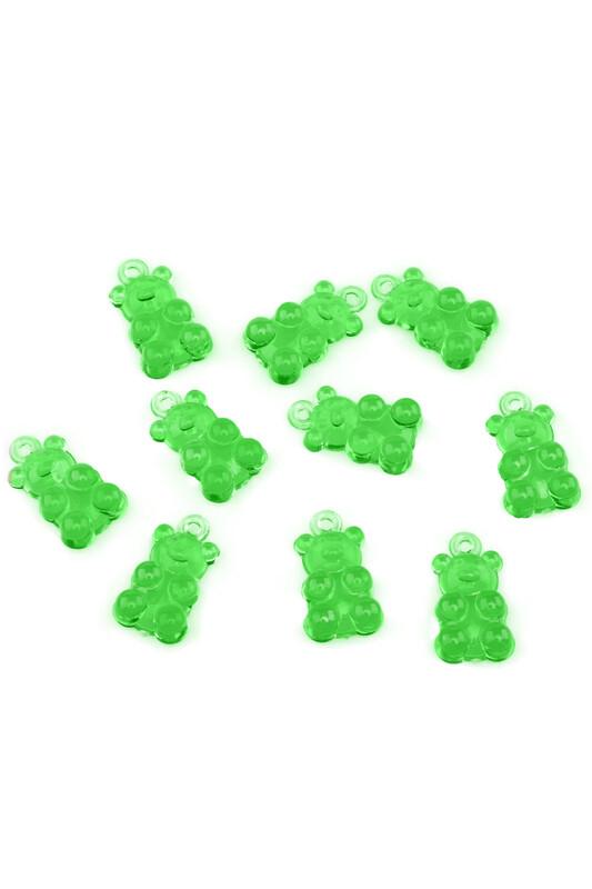 MİR PLASTİK - Jelibon Ayıcık Boncuk Yeşil 10 Adet