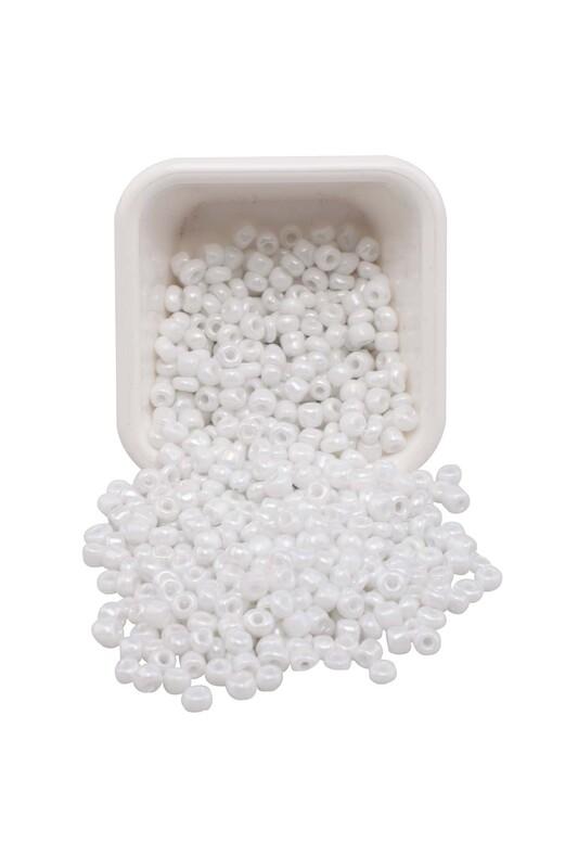 SİMİSSO - Parlak Cam Boncuk 4 mm 50 gr Beyaz