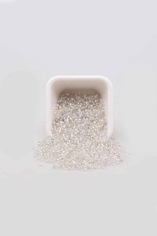 SİMİSSO - Parlak Cam Boncuk 3 mm 50 gr Beyaz