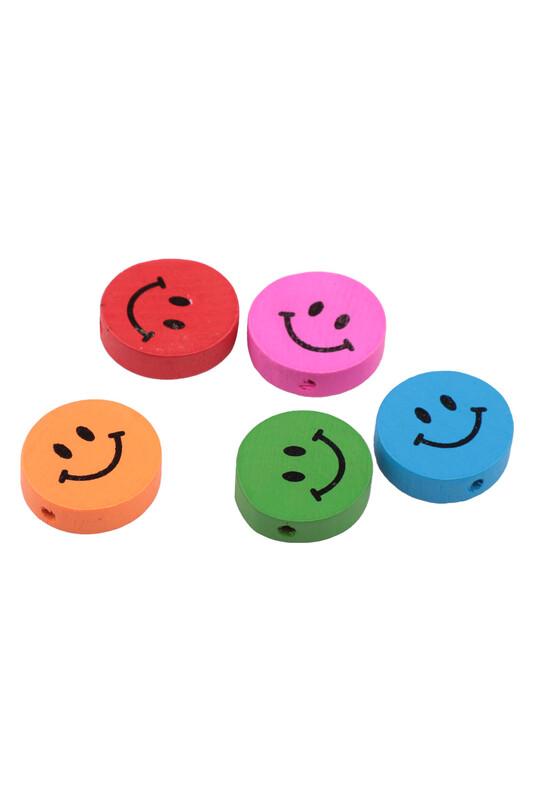 SİMİSSO - Gülen Emoji Emzik Zinciri Süsleme Figürü 5'li Renkli
