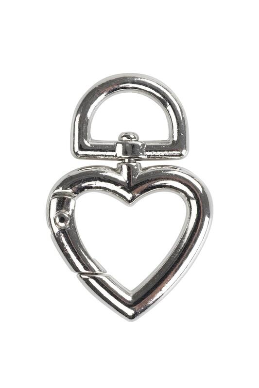MİR PLASTİK - Çanta Klipsi Kalp 4,5 cm | Gümüş
